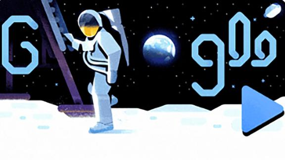 Google honored the 50th anniversary of the Apollo 11 moon landing in Friday's Doodle. Command module pilot Michael Collins narrates a cartoon recounting of the mission from launch to landing.