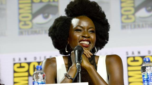"""Danai Gurira, seen here at """"The Walking Dead"""" panel during Comic-Con International in San Diego on July 19, 2019, has confirmed she will be leaving the show. (Photo by Albert L. Ortega/Getty Images)"""