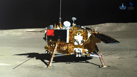 This picture released on January 11, 2019, by the China National Space Administration  shows the Chang'e-4 lunar probe on the far side of the moon.