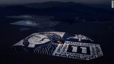 The art is on the grounds of the Ivanpah Solar Electric Generating System in California.