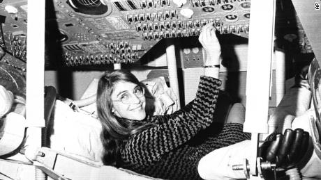 Margaret Hamilton sits in a mockup of the Apollo command module in November 1969.