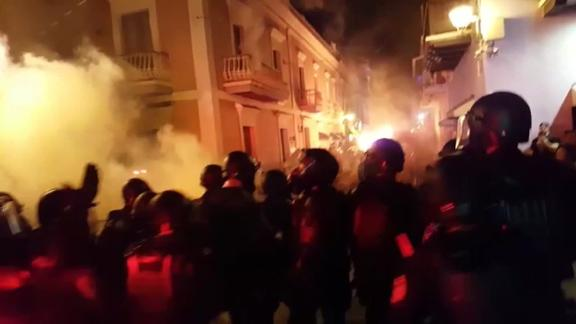 Protesters took to the streets of San Juan on Friday night.