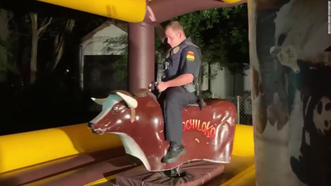 Cop rides mechanical bull after responding to noise compaint