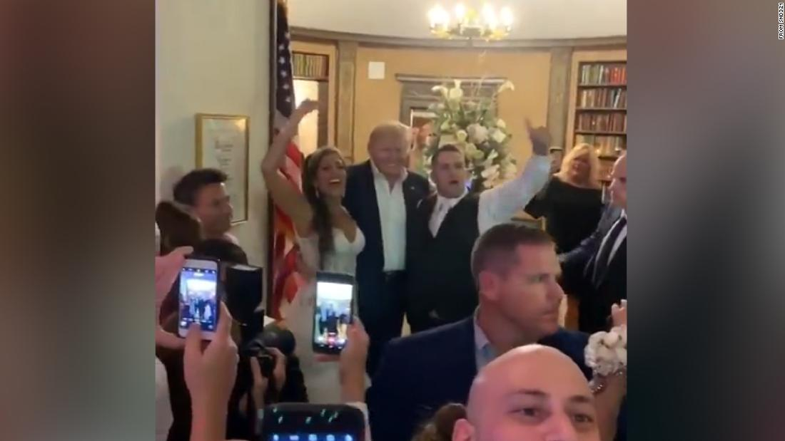 Trump made a surprise appearance at a wedding reception at his New Jersey golf club. The crowd chanted, 'USA! USA!'