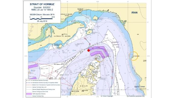 The UK Department for Transport released this map Sunday, which it said shows the Stena Impero was in Omani territorial waters when it was intercepted.