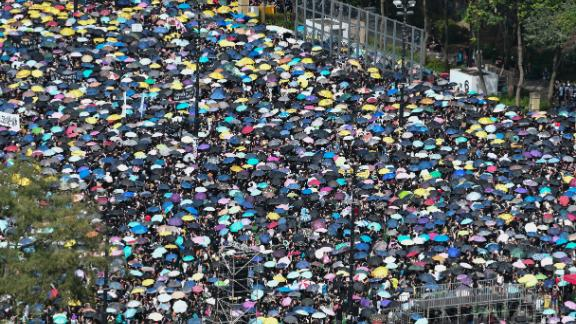 Protesters gather to march against a controversial extradition bill in Hong Kong on July 21, 2019.