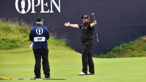 Shane Lowry celebrates after holing the winning putt at Royal Portrush.