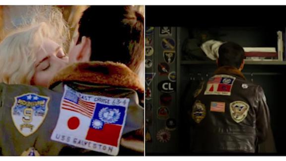 """In the trailer of """"Top Gun: Maverick,"""" two jacket patches that had originally shown the Japanese and Taiwanese flags (left) appear to have been swapped out and replaced with two ambiguous symbols in the same color scheme."""