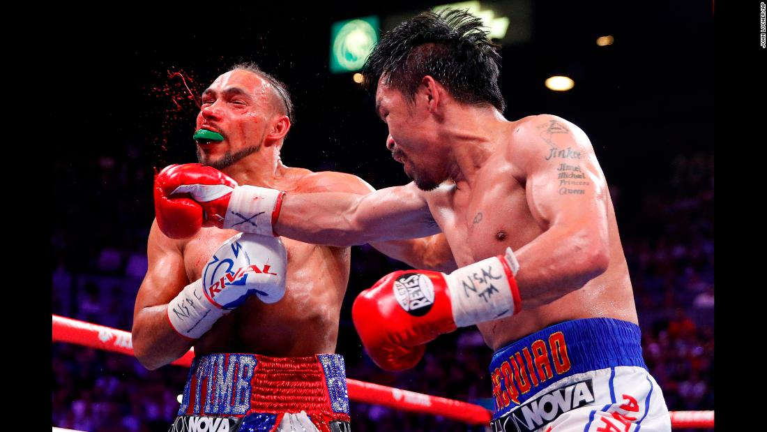"Manny Pacquiao, right, lands a punch against Keith Thurman in the fifth round during a welterweight title fight in Las Vegas on Saturday, July 20. The <a href=""https://www.cnn.com/2019/07/21/sport/pacquiao-thurman-boxing-welterweight-las-vegas-intl-spt/index.html"" target=""_blank"">40-year-old Pacquiao</a> defeated Thurman by split decision."