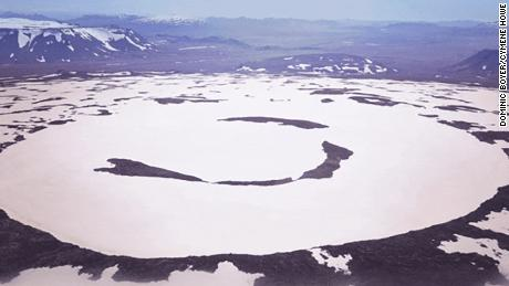 An aerial photo shows what's left of the Okjökull glacier.