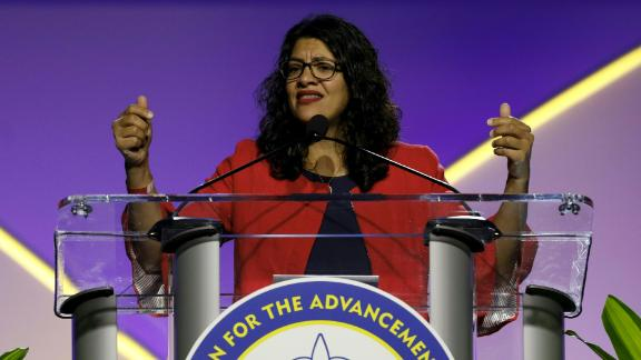 Representative. Rashida Tlaib addresses the NAACP's (National Association for the Advancement of Colored People) 110th National Convention at Cobo Center in Detroit, Michigan on July 22, 2019.