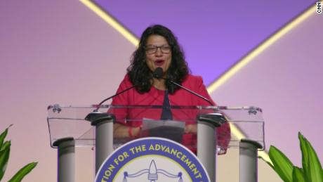Rashida Tlaib at NAACP convention in Detroit, Michigan 2019
