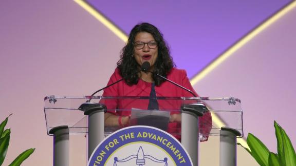 Rashida Tlaib at NAACP convention in Detroit, Michigan 2019