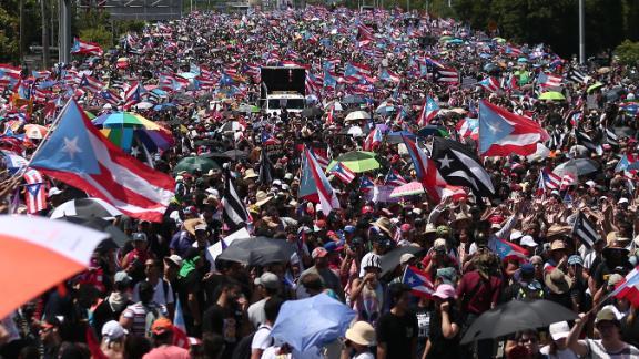 Puerto Ricans in San Juan demand Rosselló's resignation on Monday.