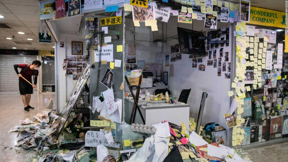 The office of pro-Beijing lawmaker Junius Ho is seen after protesters trashed the premises in Hong Kong's Tsuen Wan district.