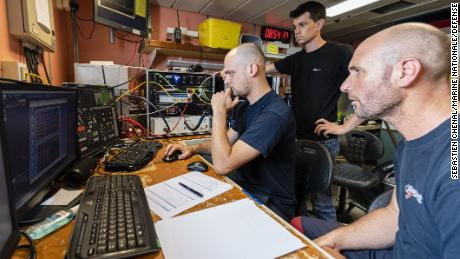Researchers from Ocean Infinity search for the French submarine Minerve.