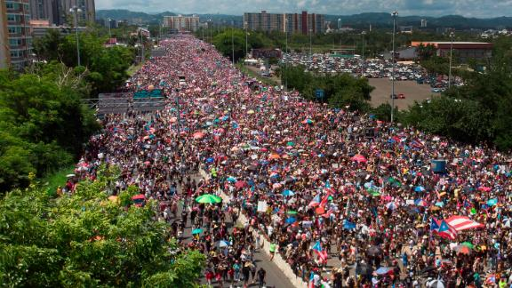 An aerial view from a drone shows thousands of people as they fill the Expreso Las Américas highway calling for the ouster of Gov. Ricardo A. Rosselló on July 22, 2019, in San Juan, Puerto Rico.