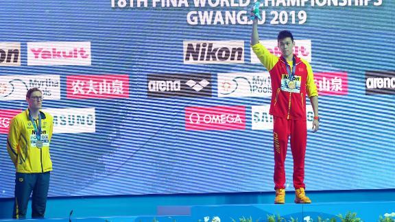 Australia's Mack Horton refused to stand on the podim with China's Sun Yang.