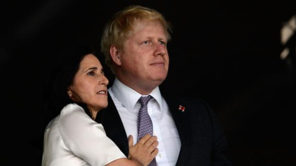 Johnson and his wife, Marina, enjoy the atmosphere in London ahead of the Olympic opening ceremony in July 2012. The couple separated in 2018 after 25 years of marriage.
