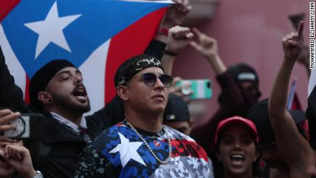 Rapper Daddy Yankee attends a rally in old San Juan.
