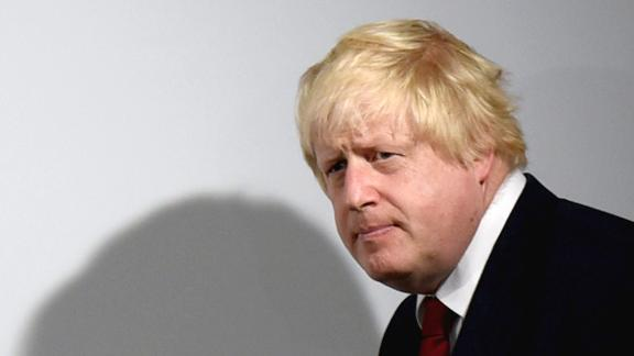Johnson arrives at a news conference in London in June 2016. During the Brexit referendum that year, he was under immense pressure from Prime Minister Cameron to back the Remain campaign. But he broke ranks and backed Brexit at the last minute.