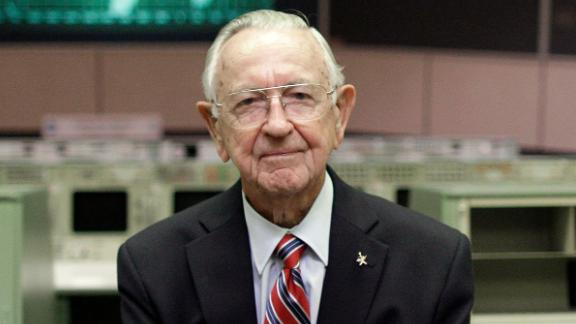NASA Mission Control founder Chris Kraft in the old Mission Control at Johnson Space Center in 2011.