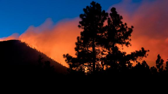 A wildfire burns through the Coconino National Forest, north of Flagstaff.