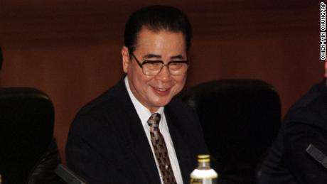 Li Peng, chairman of China's legislature, holds talks with head of North Korea's legislator Kim Yong Nam in Beijing on Thursday June 3, 1999 in Beijing. As premier, Li declared martial law and later congratulated soldiers for the crackdown on students in 1989.  As No. 2 in the party hierarchy and head of the national legislature, he is seen as an obstacle to calls to investigate the '89 crackdown or redress grievances. (AP Photo/Chien-min Chung)