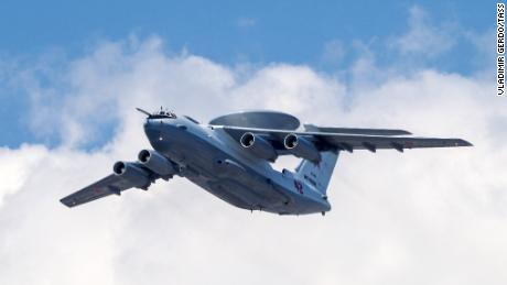 A Beriev A-50 airborne early warning and control training aircraft flies over Moscow during the dress rehearsal of a Victory Day air show.