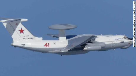 Russian A-50 AWACS command and control aircraft as photographed by Japanese jets on Tuesday.
