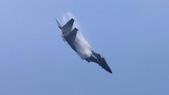 A South Korean F-15K fighter flies during an airshow.