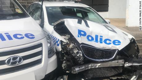 A police car damaged after it was hit by a van carrying meth in Sydney, Australia, on July 23, 2019.