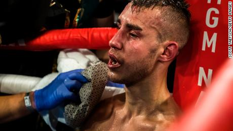 Maxim Dadashev receives attention after his corner threw in the towel at his July 19 fight in Maryland.