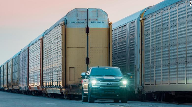 Watch this electric F-150 tow a train