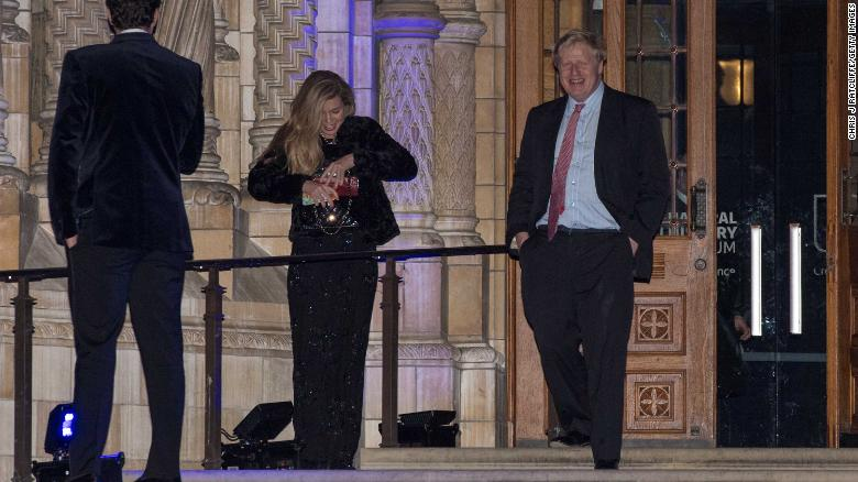 Then-Foreign Secretary Boris Johnson with Carrie Symonds at the Conservative Party's fundraising Black and White Ball in 2018.