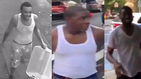 The NYPD tweeted an image of three individuals thought to be involved in dousing police with water