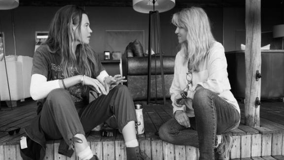 Behati Prinsloo Levine (right) and Ginger Mauney at Desert Rhino Camp in Namibia