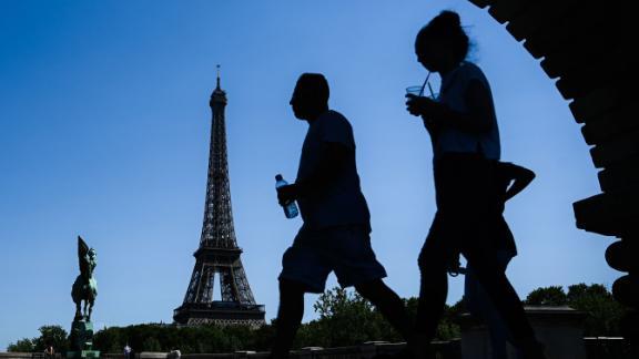 Blue skies behind the Eiffel Tower in Paris on July 23, 2019.