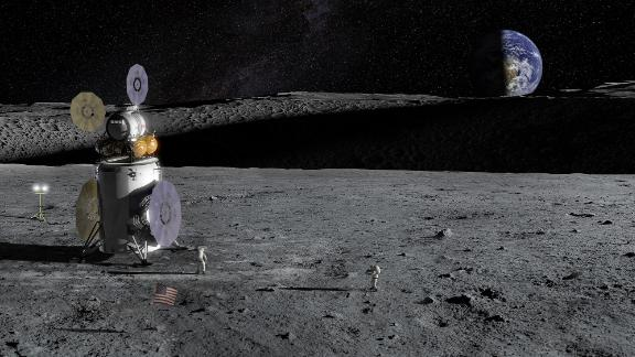 A lander on the surface of the moon.