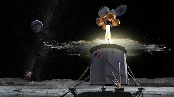 A depiction of an ascent vehicle separating from a descent vehicle.