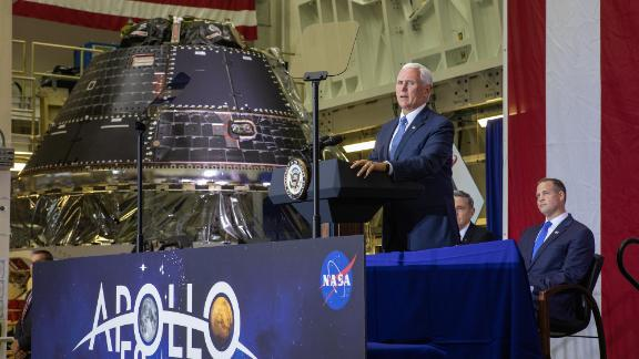 Vice President Mike Pence at Kennedy Space Center on the Apollo 11 anniversary, next to the completed Orion crew capsule.