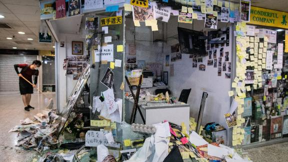The office of pro-Beijing government lawmaker Junius Ho is seen after protesters trashed the premises in Hong Kong's Tsuen Wan district on July 22, 2019.
