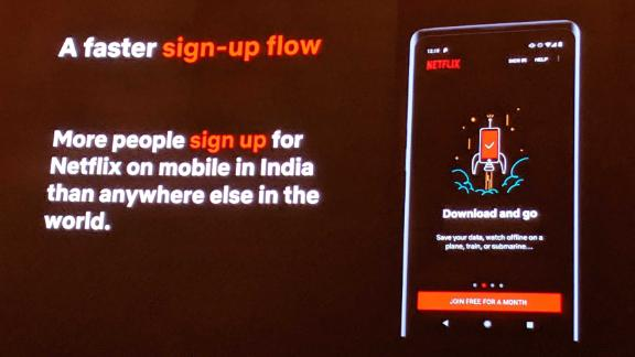 Netflix presents a new mobile-only subscription plan for Indian users at a launch event in New Delhi, India on Wednesday, July 24.
