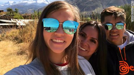 Tania Bravo Groe, 48, with daughter Alessandra Groe, 18, a student at Iowa State University, and son Anthony Groe, 16, who is in high school.
