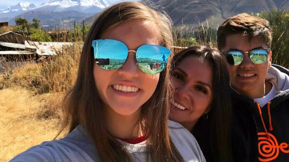 Tania Bravo Greo, 48, with her kids Alessandra Greo, 18 in college at Iowa State University and Anthony Greo, 16, still in high school.