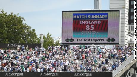 The Scoreboard as England are bowled out for 85 runs before lunch.