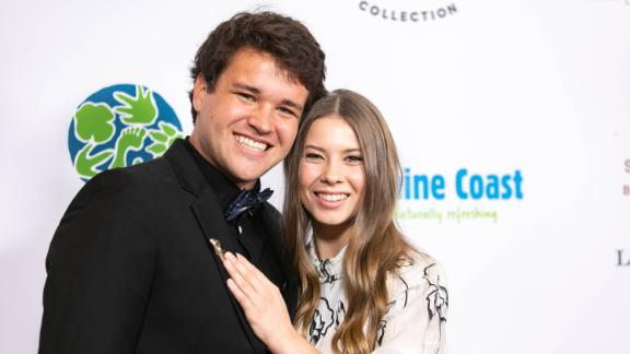 Chandler Powell, left, and Bindi Irwin attend the Steve Irwin Gala Dinner at SLS Hotel on May 4 in Beverly Hills, California.