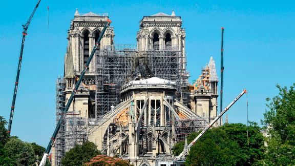 This picture taken on July 9, 2019 in Paris shows Notre-Dame de Paris cathedral as reconstruction works are ongoing after it was badly damaged by a huge fire last April 15. (Photo by BERTRAND GUAY / AFP)        (Photo credit should read BERTRAND GUAY/AFP/Getty Images)