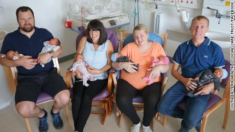 Johnny and Claire Stewart and Kirsty and Brendan McMenamin had triplets within 24 hours of each other.
