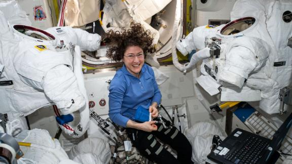 We hope this very smiley lady never goes outside without her spacesuit.